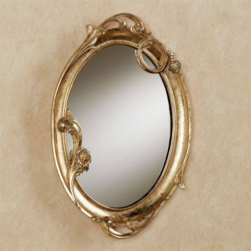 Art Nouveau Gold Oval Wall Mirror Pertaining To Gold Oval Mirrors (#3 of 15)