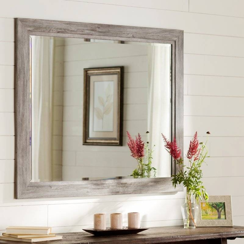 August Grove Coastal Weathered Gray Wall Mirror & Reviews | Wayfair For Home Wall Mirrors (View 4 of 15)
