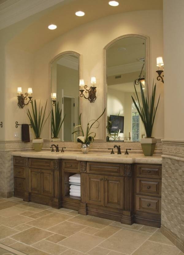 Awesome Retro Bathroom Vanity Lighting Using Wrought Iron Wall In Decorative Mirrors For Bathroom Vanity (#1 of 15)