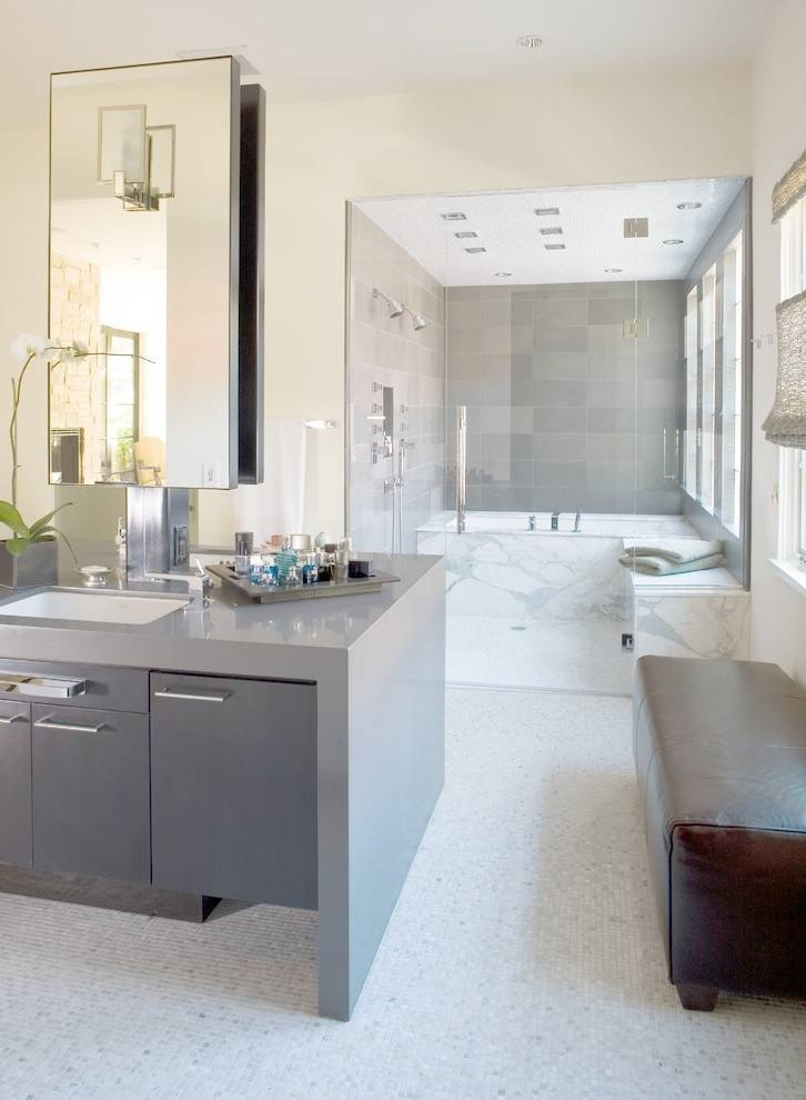 Awesome Wet Room Bathroom With Mosaic Tile Floor Custom Mirrors In Denver Custom Mirrors (#1 of 15)