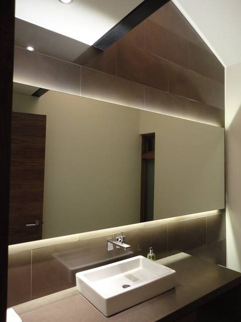 Backlit Mirror Powder Room – Contemporary – Powder Room – Denver With Regard To Led Strip Lights For Bathroom Mirrors (#5 of 15)