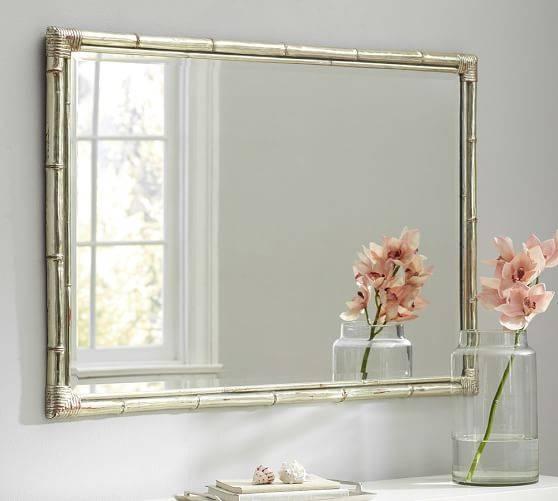 Bamboo Silver Gilt Wall Mirror | Pottery Barn Inside Pottery Barn Wall Mirrors (#1 of 15)
