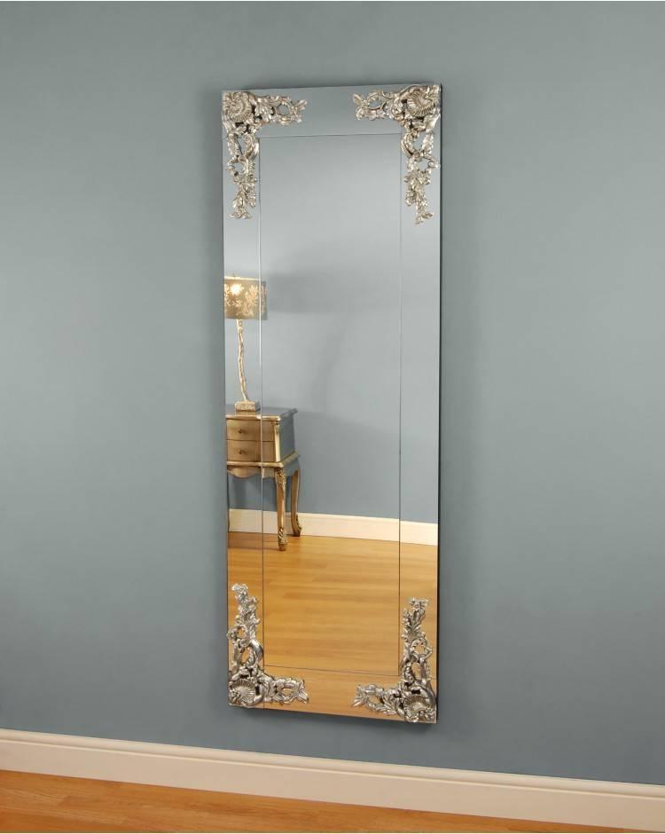 Barbaresco Large Silver Detail Frameless Mirror Intended For Frameless Full Length Wall Mirrors (#1 of 15)