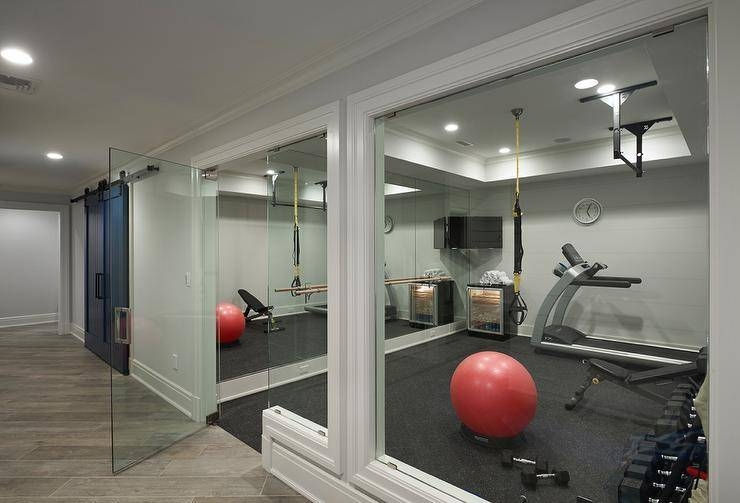 Basement Gym With Mirrors – Transitional – Basement Pertaining To Gym Full Wall Mirrors (#2 of 15)