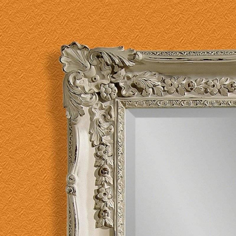 Bassett Mirror Company Antique White Victorian Wall Mirror Bm M2935B For Bassett Wall Mirrors (#3 of 15)