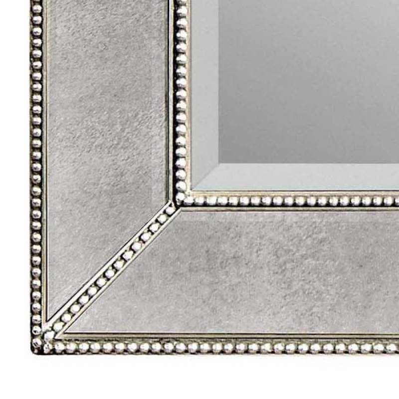 Bassett Mirror Company Beaded Antique Silver Rectangle Wall Mirror Throughout Beaded Wall Mirrors (#2 of 15)