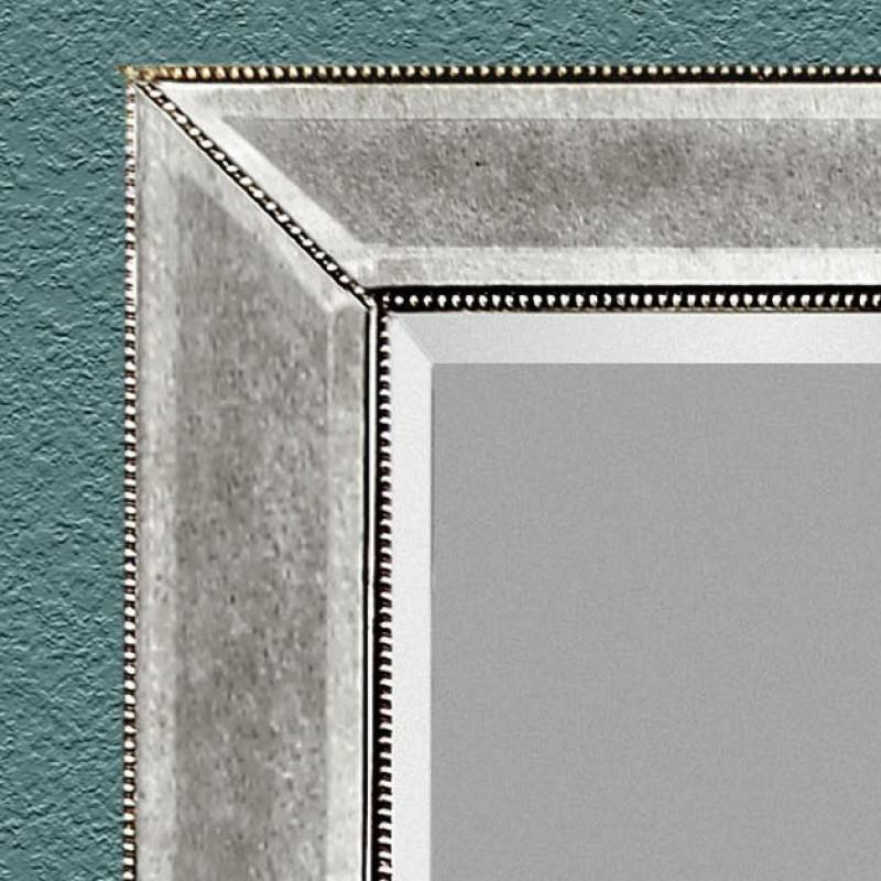 Bassett Mirror Company Large Antique Silver Rectangle Wall Mirror In Large Rectangular Wall Mirrors (#2 of 15)