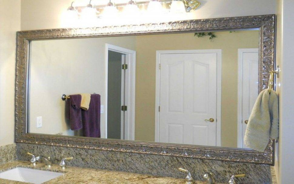 Bathroom : Bathroom Furniture Framed Wall Mirrors And Black Wooden For Long Rectangular Wall Mirrors (#1 of 15)