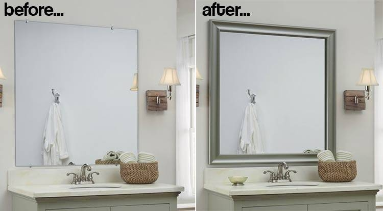 Bathroom Cabinets : Diy Vanity Mirror Mirror Without Frame Mirror Within Large Wall Mirror Without Frame (#3 of 15)