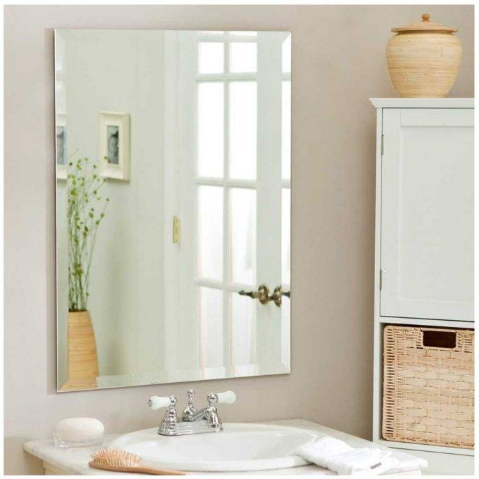 Bathroom Cabinets : Large Decorative Bathroom Wall Mirrors Regarding Large Wall Mirrors Without Frame (#4 of 15)