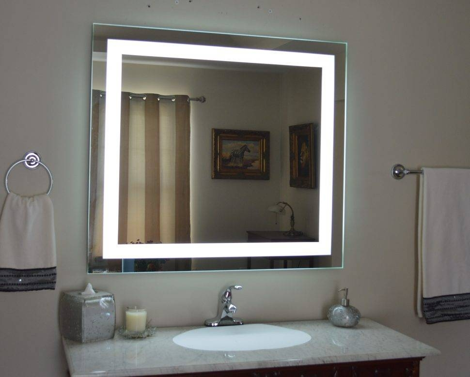 Bathroom Cabinets : Led Makeup Mirror Shaving Mirror With Light Throughout Wall Mirrors With Light Bulbs (#4 of 15)