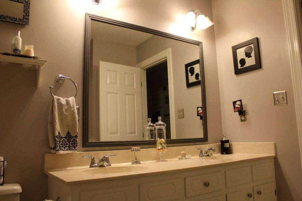 Bathroom Cabinets : White Wood Framed Mirror Wood Floor Mirror Within Large Framed Bathroom Wall Mirrors (#4 of 15)