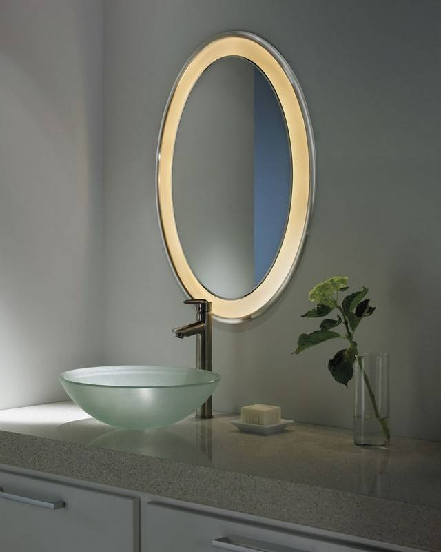 Bathroom Decorating Design Ideas Using Lighted Oval Bathroom Wall Regarding Oval Bathroom Wall Mirrors (View 14 of 15)