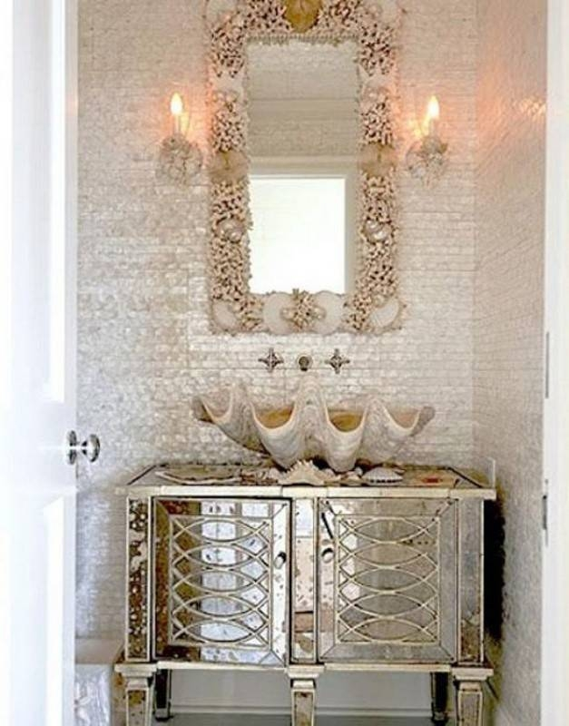 Bathroom Design And Decoration Using Rectangular White Mirror For Seashell Wall Mirrors (#6 of 15)