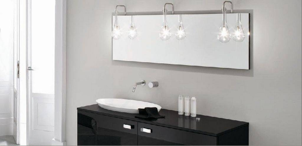 Bathroom Glass Ceiling Light Above Rectangular Wall Mirror Design Throughout Bathroom Lights And Mirrors (#3 of 15)