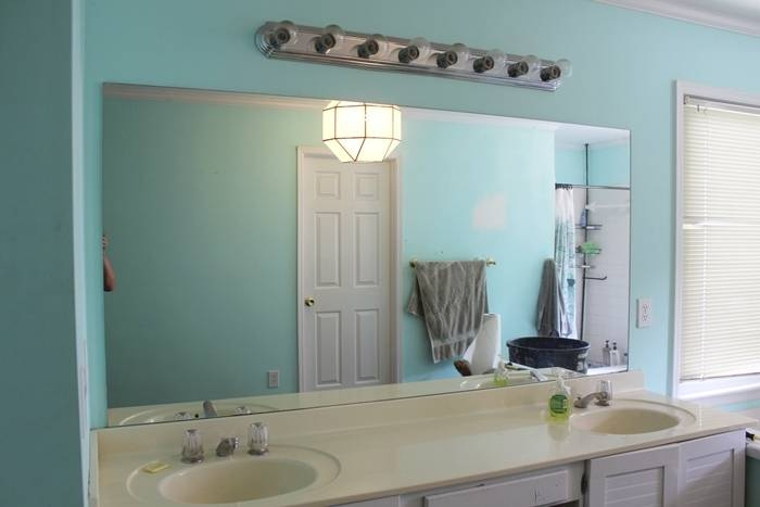 Bathroom Ideas: Frameless Bathroom Wall Mirrors With Double Sink With Vanity Wall Mirrors For Bathroom (View 6 of 15)
