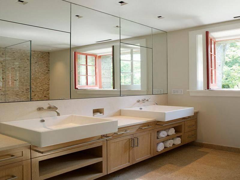 Bathroom Ideas: Large Frameless Bathroom Wall Mirrors With Double For Large Bathroom Wall Mirrors (View 4 of 15)