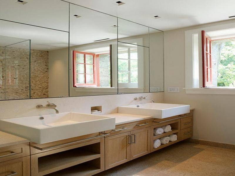 Bathroom Ideas: Large Frameless Bathroom Wall Mirrors With Double In Bathroom Wall Mirrors (#1 of 15)