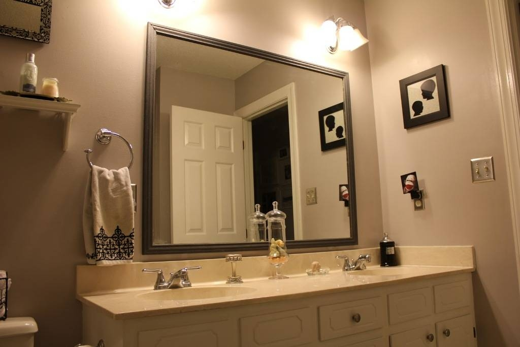 Bathroom Ideas: White Wood Framed Bathroom Wall Mirrors With With Framing Bathroom Wall Mirrors (#2 of 15)