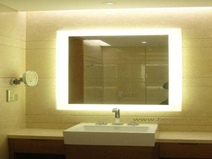 Bathroom : Lighted Bathroom Mirror 34 Lighted Bathroom Mirror Led Within Lighted Bathroom Wall Mirrors (#2 of 15)