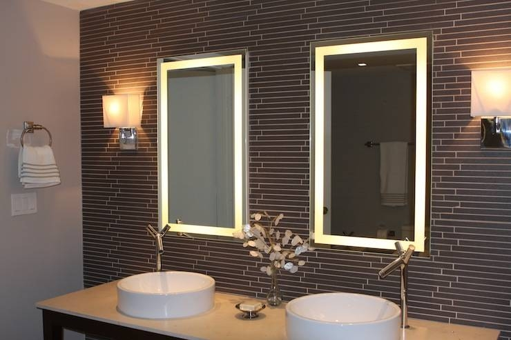 Bathroom Lighting: Marvelous Lighted Bathroom Mirror Design Led With Regard To Lighted Wall Mirrors (#4 of 15)