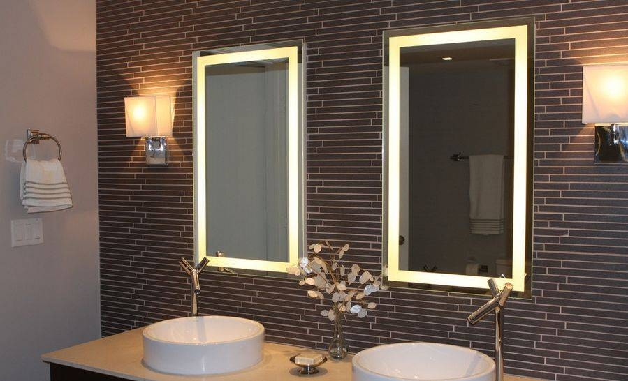Bathroom Mirror Lighting Modern Bathroom Mirrorwith Lights Two Regarding Bathroom Lights And Mirrors (#4 of 15)