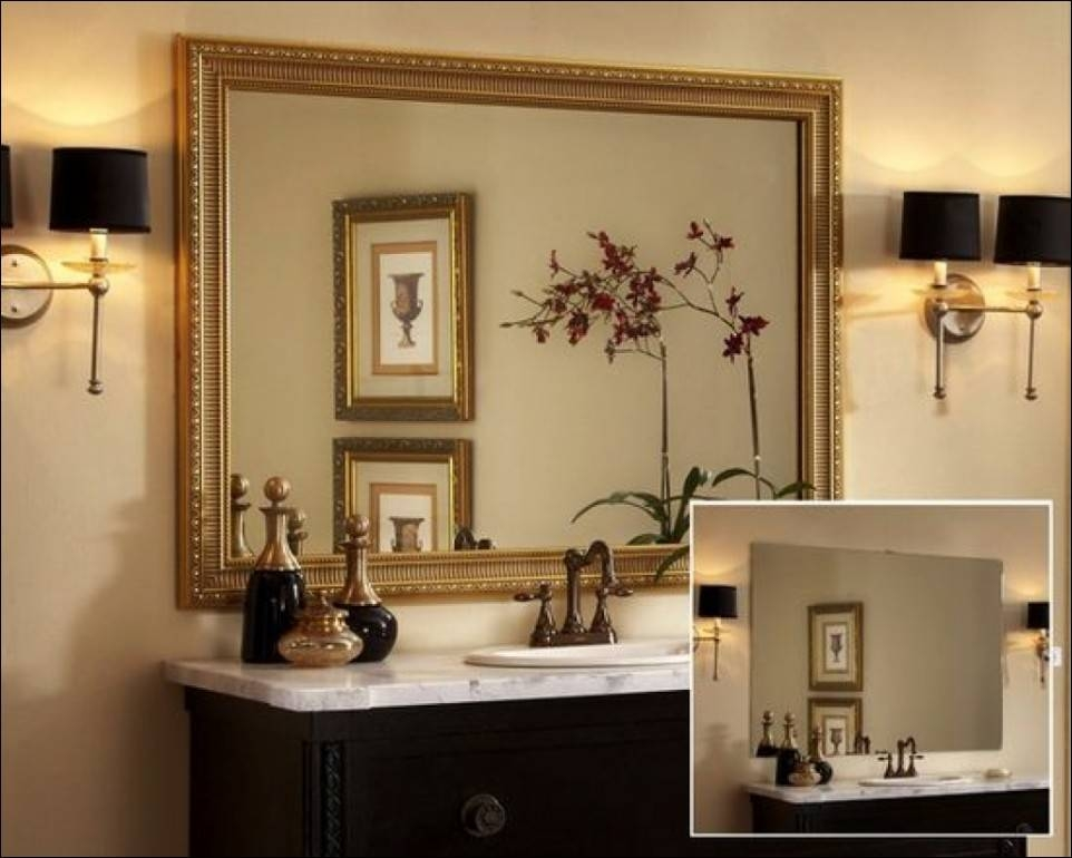 Bathroom Round Wall Mirror Large Decorative Mirrors For Bathrooms Inside Large Decorative Wall Mirrors (View 14 of 15)