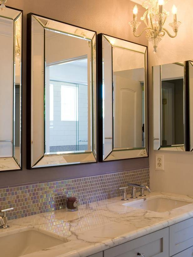 Bathroom Vanity Mirrors Ideas, Grey And White Marble Tile Bathroom Pertaining To Decorative Mirrors For Bathroom Vanity (#5 of 15)