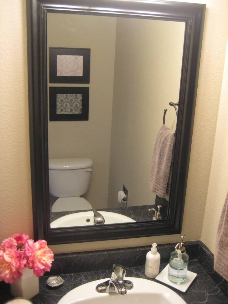 Bathroom Wall Mirror With Black Painted Wooden Frame Mixed White Pertaining To Framing Bathroom Wall Mirrors (#4 of 15)