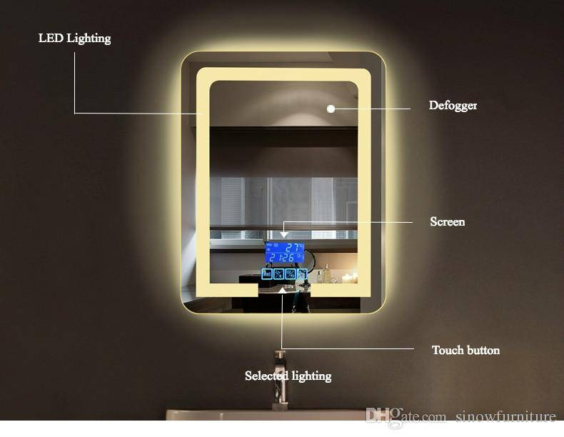 Bathroom Wall Mount Lighting Led Vanity Mirror With Lights With Regard To Led Wall Mirrors (#4 of 15)