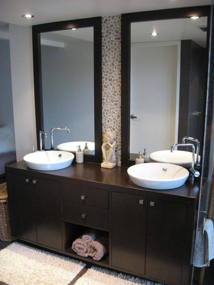 Bathrooms Design : Bathroom Vanity Mirrors For Double Sink Modern In Framed Full Length Wall Mirrors (#3 of 15)