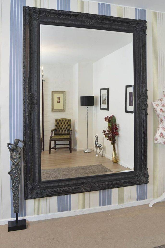 Bathrooms Design : Large Black Framed Mirror Wall Length Mirror For Bedroom Wall Mirrors (#1 of 15)