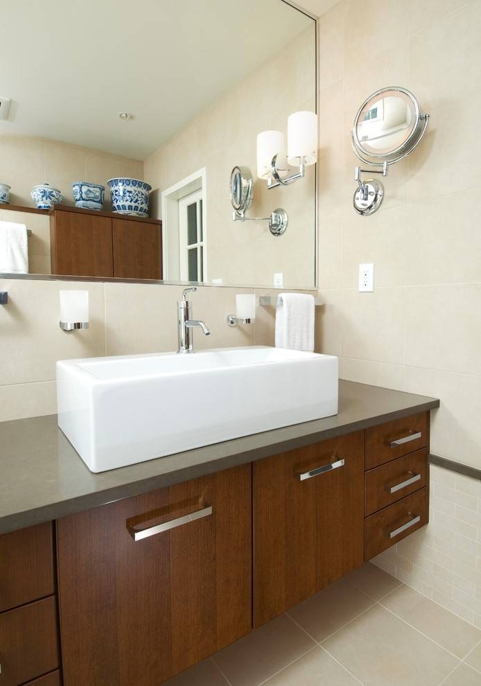 Beautiful Lighted Magnifying Mirror In Bathroom Traditional With Throughout Magnifying Wall Mirrors For Bathroom (View 9 of 15)