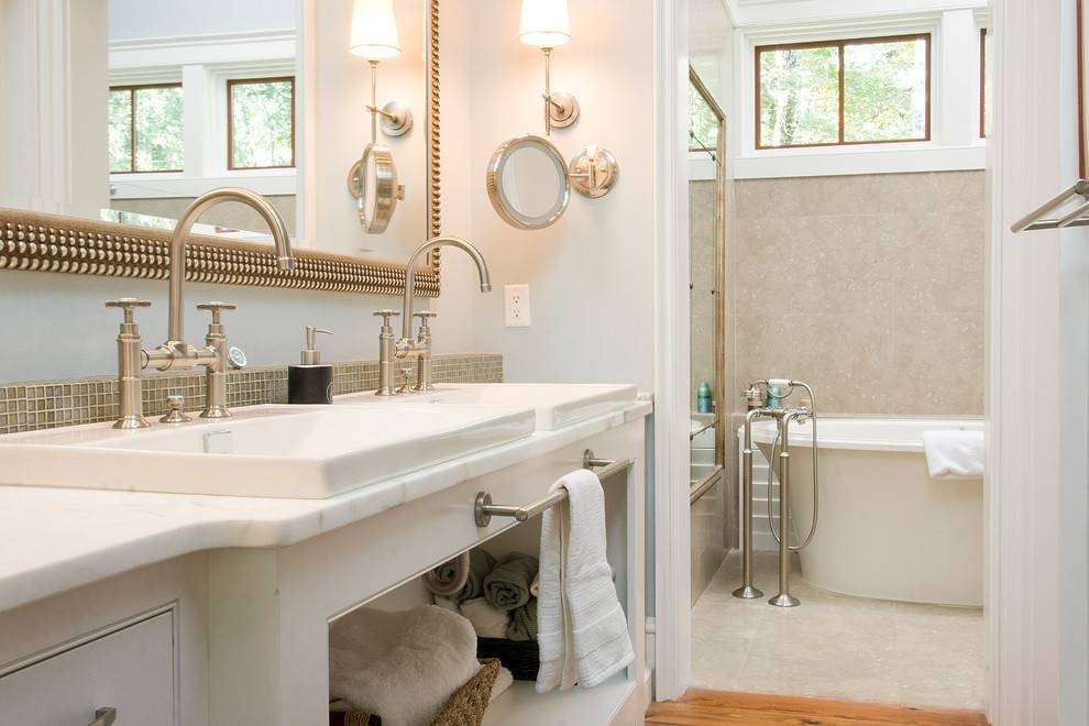 Beautiful Lighted Magnifying Mirror In Bathroom Traditional With With Vanity Wall Mirrors For Bathroom (View 7 of 15)