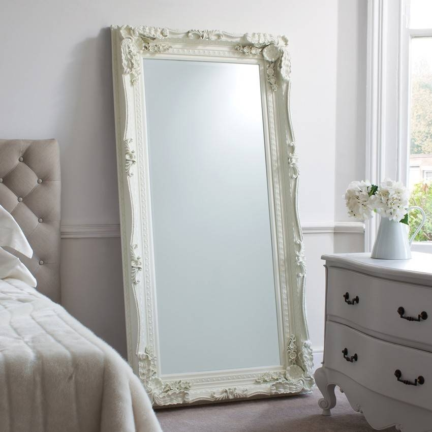Bedroom: Leaner Mirror With Brown Frame On White Wall For Home Within White Frame Wall Mirrors (View 5 of 15)