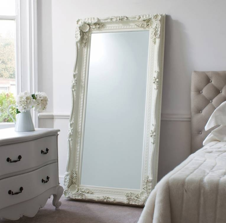 Bedroom: Leaner Mirror With White Frame Before The White Wall Plus Regarding Leaning Wall Mirrors (#3 of 15)