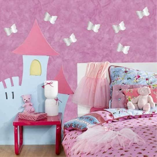 Bedroom Wall Art Decor Butterfly Wall Stiker Design Wall Mirrors Intended For Girls Wall Mirrors (View 13 of 15)