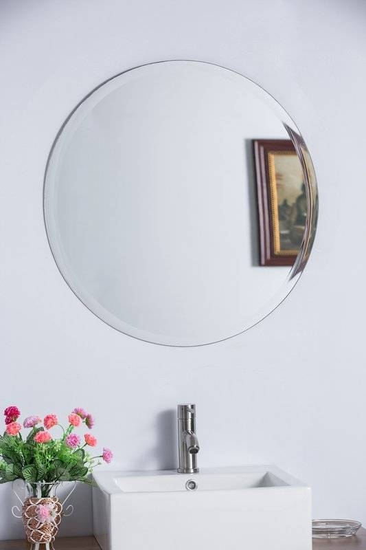 Bellaterra Home Round Frameless Bathroom/vanity Wall Mirror With Frameless Round Wall Mirrors (#6 of 15)
