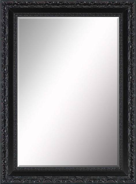Beveled Mirror, Ornate Thick Black – Traditional – Wall Mirrors With Black Wall Mirrors (View 10 of 15)
