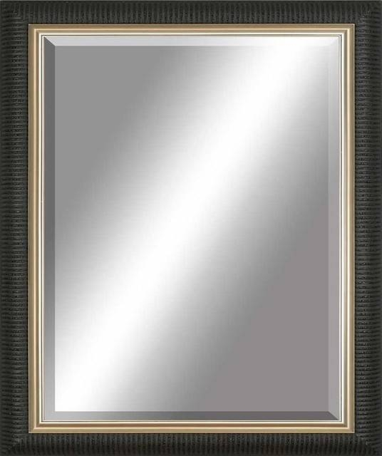 Beveled Mirror, Ribbed Black, Gold Inlay – Contemporary – Wall For Black Rectangle Wall Mirrors (#5 of 15)