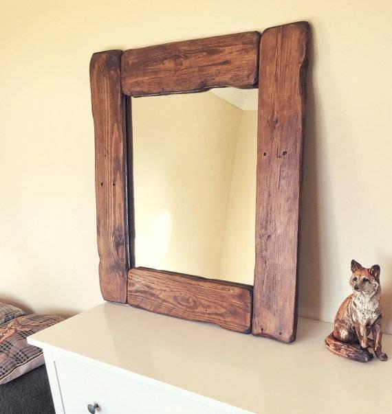 Big Wooden Mirror Old Vintage Thick Dark Oak Rustic Old Inside Vintage Wood Mirrors (#8 of 15)