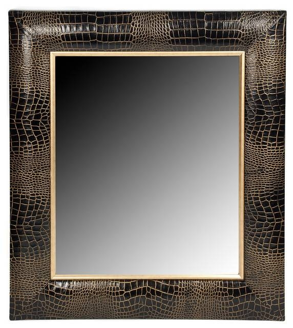 Black Croc Leather Framed Mirror With Hand Painted Gold Tipping Pertaining To Hand Painted Wall Mirrors (#4 of 15)
