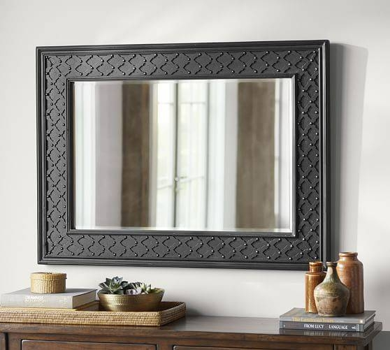 Black Fretwork Wall Mirror | Pottery Barn Inside Black Wall Mirrors (View 8 of 15)