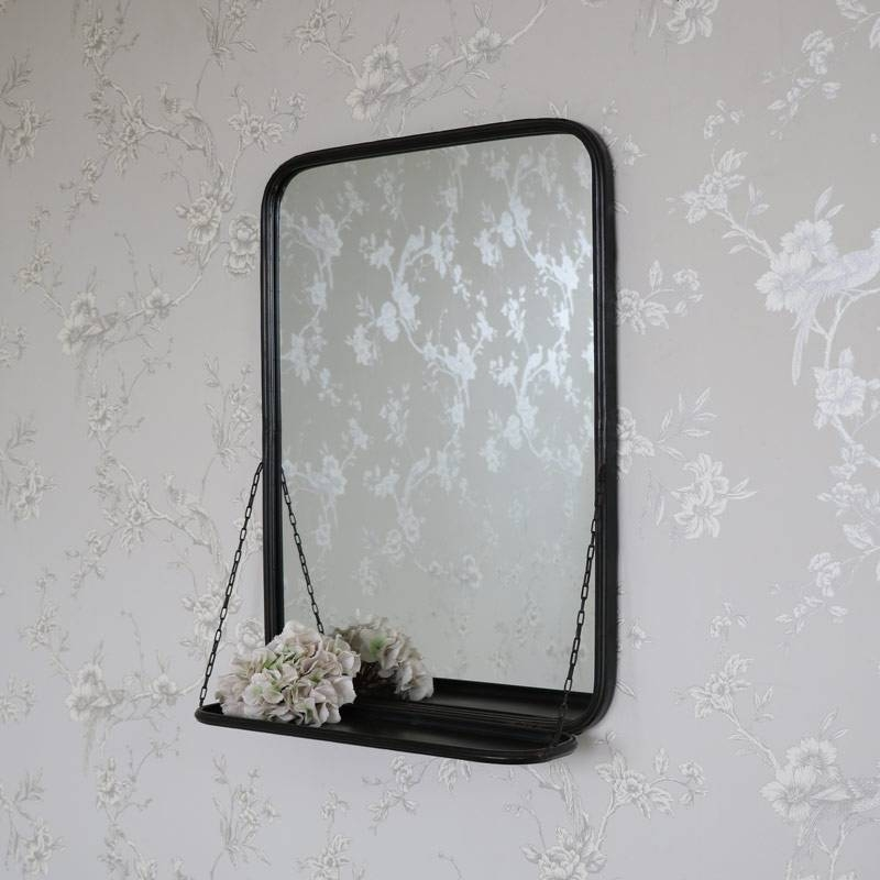 Black Metal Industrial Vanity Wall Mirror With Shelf – Melody Maison® In Industrial Wall Mirrors (View 4 of 15)