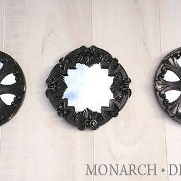 Black Mirror Set Of 3 Round Wall Mirrors From Monarchdesignloft Throughout Wall Mirror Sets Of  (#5 of 15)