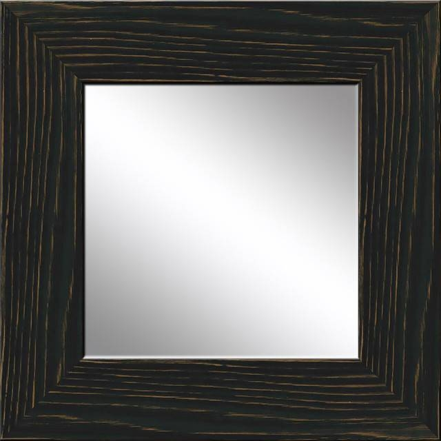 Black Recovered Wood Mirror – Rustic – Wall Mirrors  Ptm Images Within Wood Wall Mirrors (#3 of 15)