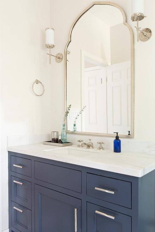 Blue Bath Vanity With Uttermost Kenitra Arch Wall Mirror Intended For Vanity Wall Mirrors For Bathroom (View 14 of 15)