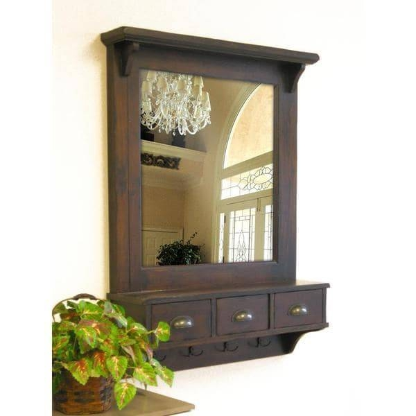 Bombay Brown Wall Mirror With Drawers And Hooks – Free Shipping For Wall Mirror Hooks (#5 of 15)