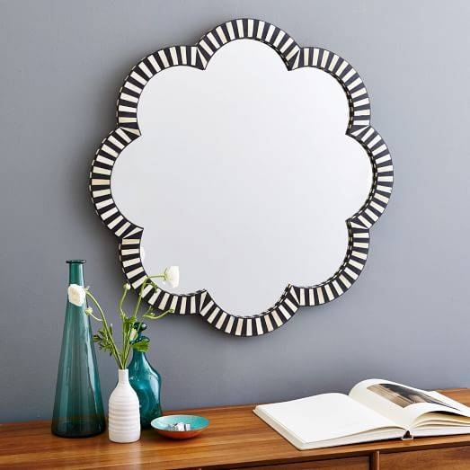 Bone Inlaid Wall Mirror – Flower | West Elm Intended For Flower Wall Mirrors (#4 of 15)