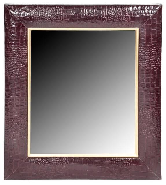 Bordeaux Classic Croc Leather Framed Mirror – Wall Mirrors – Within Leather Framed Wall Mirrors (#5 of 15)